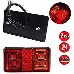 WildAuto Feux Remorque Led 12V 24 V, LED Feux Arrière, Feux Stop, Feux Clignotant pour Remorque, Camion, Caravane, Vélo (2 pcs Ambre&Rouge Carré)