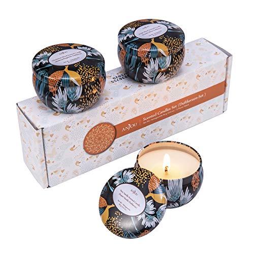 ANJOU Duftkerzen Geschenkset 3er Set Soja Wachs 3 x 60g, Düfte: Sehr Vanille, Weihnachtsholz, frischer Wind, Verwendung für Aromatherapie, Bad, Yoga, perfekt für Weihnachten, Geburtstag, Muttertag