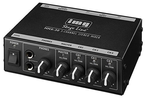IMG Stage Line MMX-30 Kompakter 3-Kanal-Stereo-Line-Mischer schwarz (2 Stage Line)