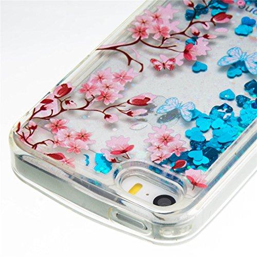 A9H iPhone SE 5 5s Hülle Schutzhülle iPhone SE 5 5s Hülle Transparent Hardcase Kreative Liquid Bling Hülle Case Für iPhone SE 5 5s Dynamisch Treibsand Flüssige Fließend Wasser Glitter Glitzer Glanz Sp 11HUA