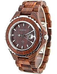 Bewell ZS 100bg lujo madera reloj de pulsera cuarzo para los hombres 30m resistente al agua relojes (rojo)