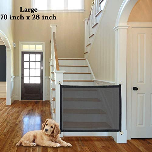 24x7 eMall Baby and Pet Safety Gate Magic Gate for Dog Safety Enclosure Portable Mesh Folding Safe Guard, Isolation Net, Baby Safety Fence, Install Anywhere.(Large 70 x 28 Inches)