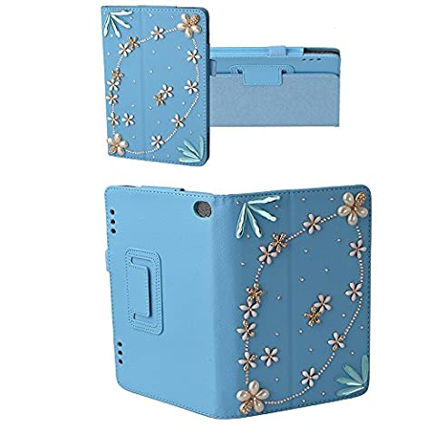 Spritech(TM) Luxury Bling Rhinestone Design Elegant Flower Decor Smart-shell Stand Cover for Amazon Kindle Fire HD 7 inch Display Tablet (5th Generation - 2015 Release