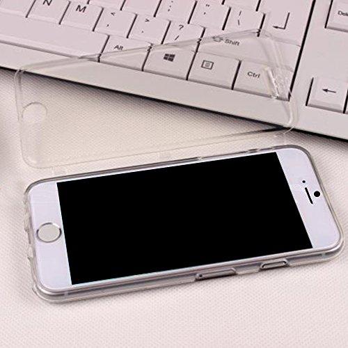 Cuitan Transparent Weiche TPU Flip Schutzhülle für Apple iPhone 6 plus / 6s plus (5,5 Zoll), mit Touch Screen Funktion Vorderseite Abdeckung Protector Hülle Cover Case Handytasche Handyhülle für iPhon Weiß