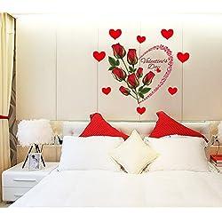 XMJR Wall decoration Autoadhesivos vinilos adhesivos romántica habitación de matrimonio para decorar las paredes de fondo carteles pegatinas rosas rosas de amor, amor, grande