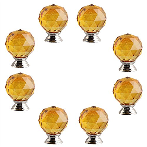 fbshop (TM) 30mm 8pezzi manopola a forma di diamante in cristallo, maniglia cassetti armadio, ideale per armadi, cucina e bagno armadi, persiane, Armadio