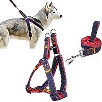 Cablaggio dell'animale domestico, CUGLB Jean cane conduce No-Pull guinzaglio del cane / gatto con fibbie a sgancio rapido di sicurezza del cane cablaggio Cowboy cinghia corda catena (L)