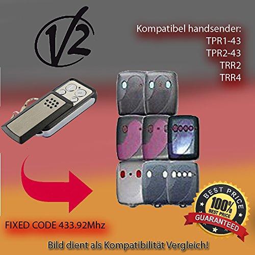 V2 TPR1-43,TPR2-43(BLUE)/,TPR2-43(PINK)/TRR1,TRR2,TRR4(PURPLE)/TRR2-43,TRR4-43 Kompatibel Handsender, Ersatz sender, 433.92Mhz fixed code keyfob (Code V2)