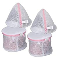 Vivifying Bra Net Wash Bags, Set of 4 Durable Lingerie Laundry Bag with Zip Closure for Bra, Underwear, Delicates, Socks (White)