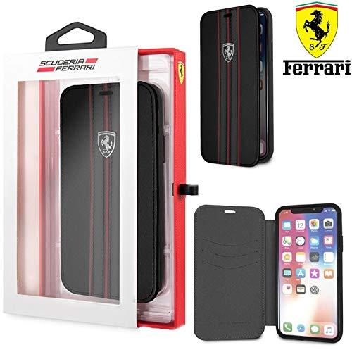 c501380e845 CG MOBILE Ferrari Urban Collection Funda Folio para Apple iPhone X Negro  con Bandas Rojas