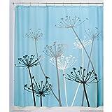 InterDesign Thistle Duschvorhang | 183,0 cm x 183,0 cm großer Badewannenvorhang | waschbarer Duschvorhang aus weichem Stoff | mit Blumen-Motiv | Polyester blau/schwarz