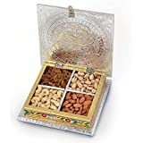 Olypex Handcrafted Steel And Rexin Dry Fruit Box With Meenakari Work \ Dry Fruit Gift Box