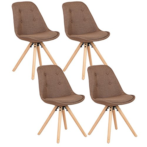 WOLTU BH54br-4 4 x Esszimmerstühle 4er Set Esszimmerstuhl, Sitzfläche aus Leinen, Design Stuhl,...