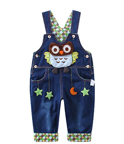 Kids Baby Denim Dungarees Boys Girls Toddler Bib Overall Jeans with Suspenders Owl Pattern - 73
