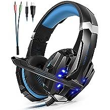 Auriculares Cascos Gaming ArkarTech Headset Gamer con Micrófono Juegos Estéreo LED Para PS4 Portátiles Móviles Tablet PC Nuevo Xbox One Mac Nintendo