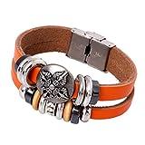 Gnzoe Herren/Damen PU Leder Armband Korn-Armband Multi Paare Kugel Lederarmband Partnerarmbänder Rot