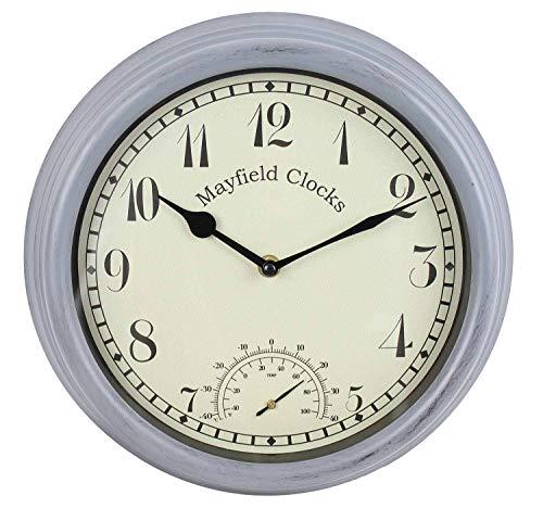 Mayfield Living Wanduhr Küchenuhr Gartenuhr 30cm wetterfest Anthrazit Grau Landhaus Thermometer Innen und Aussen (Wetterfeste Uhren)
