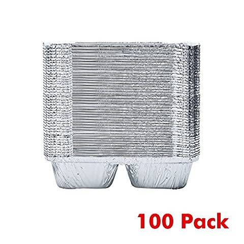 HomeBBQ ALUMINUM FOIL PANS 3-Compartment Disposable Aluminum Foil Take-out Containers with Lids, for Meal Prep (Pack of 30/50/100)