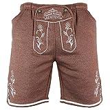 Kurze Lederhosen Jogginghose bestickt, Trachten Hose in verschiedenen Farben und Größen (XL, Braun)