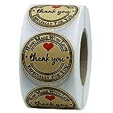 JZTRADING Cookies Label Hochzeit Gunst Geschenk Tasche Backen Kraftpapier Dichtungsaufkleber Dekorative Dichtungsaufkleber mit Danke (1 Rolle, 500 Stück)