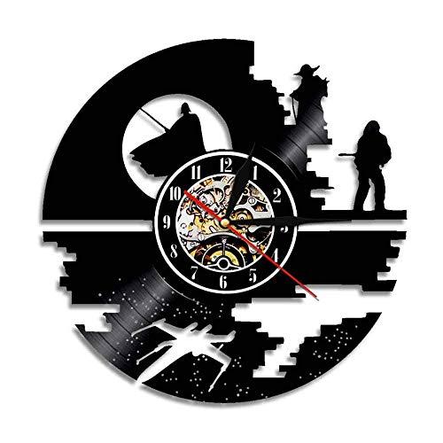FOOBRTOPOO Hausuhr Vintage Rekord Wanduhr schwarz kreative Retro Star War Dreieck Uhr (Farbe: Schwarz) für Heimtextilien (Farbe : Black)