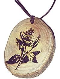 Retrosheep Evening Primrose flower floral Handmade Eco Friendly Wooden Necklace Charm