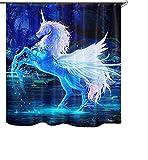 Izielad Tier Einhorn Stoff Duschvorhang Wasserdichtes Badezimmer Dekor