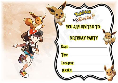 Pokemon Lets Go Eevee Geburtstagsparty-Einladungen - Eevee Querformat Design - Partyzubehör/Zubehör (Packung mit 12 Einladungen) WITH Envelopes
