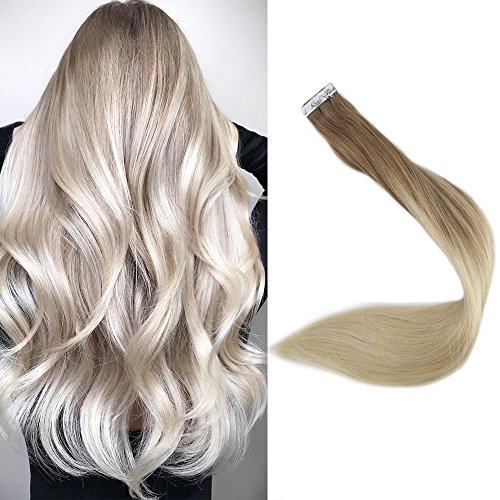 Full Shine 22 Zoll 20 Stuck 50 Gram Per Package Salon Quality Ombre Haarfarbe #8 Fading to #60 Plautinum Blonde Balayage Pastel Tape Hair Extensions Echthaar Extensions Bondings -