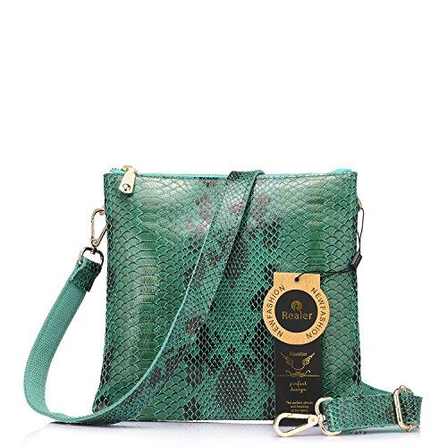 Realer Femmes Split Leather Dernier sac à bandoulière Flat Snake Pattern Cross-Body Bag pour dames Vert clair
