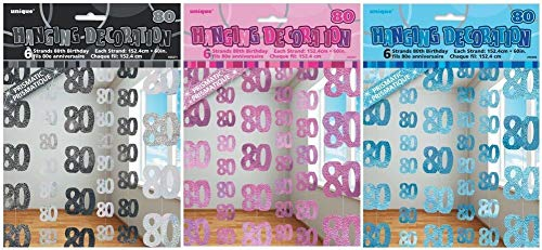 NANA'S PARTY Glitzz Reihe, 3 Farben, zum Aufhängen, Girlande (Geburtstagsfeier), Pink Glitz, 80th Birthday/Age 80