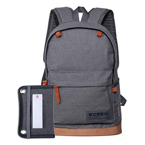 eceen Powered Rucksack, Camping Tasche mit Solarpanel und LED Laterne für für IOS und Android Smart Handy, Lautsprecher etc. 5V Geräte geladen und Camping Wandern Reiten Outdoor Sports grau - grau