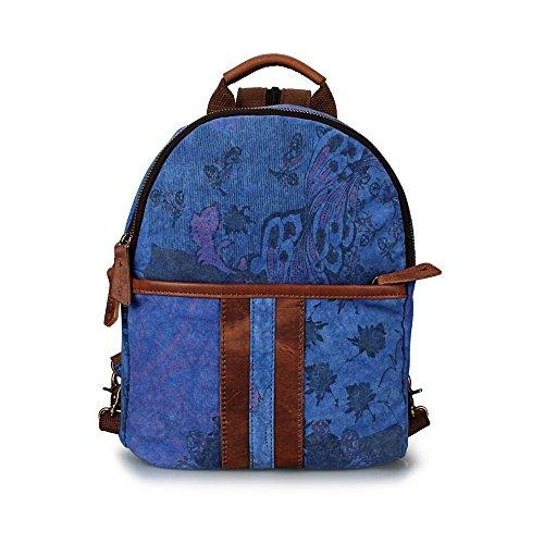 borsa di tela, lavare la stampa, cuoio, piccola?,esercito fiori verde cielo blu