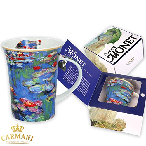 CARMANI - Kaffeetasse oder Teebecher aus Porzellan mit Monet'Mohnblumen' 250 ml