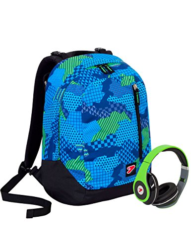 Zaino SEVEN THE DOUBLE - CAMOUFLAGE - Blu Verde Nero - cuffie stereo con grafica abbinata incluse! 2 zaini in 1 REVERSIBILE
