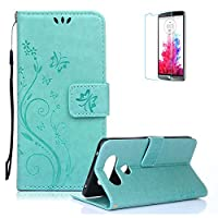 LG V20 Case.Funyye Elegant Premium Folio PU Leather Wallet Magnetic Flip Cover with [Wrist Strap] and [Credit Card Holder Slots] Stand Function Book Type Stylish Butterfly Leaf Vines Designs Full Protection Holster Case Cover Skin Shell for LG V20-Green