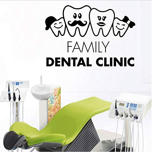 shensc Zähne Familie zahnarzt dental Aufkleber chirurgie Krankenhaus stomatologie Vinyl Aufkleber fensterglas niedlichen Zahn dekor für zahnarzt 62x42 cm -