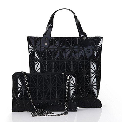 OME&QIUMEI Lingge Tasche Tasche Geometrische Gitter Nähen Hand Gedämpft Gefüllte Brötchen Mutter Tasche Falttasche Diamond Single Umhängetasche Schwarz (Gefüllt Nähen)
