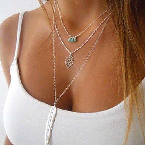 Elistelle Halskette Mit Anhänger Damen Lang Kette Silber Blätter Muster Halsketten