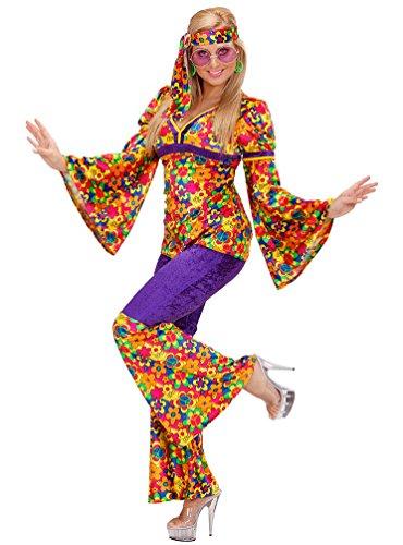Karneval Klamotten Hippie Kostüm Damen Flower-Power Kostüm Karneval 60er 70er Jahre Oberteil inkl. Schlaghose Damenkostüm Größe 34/36 (60er 70er Jahre Halloween Kostüme)