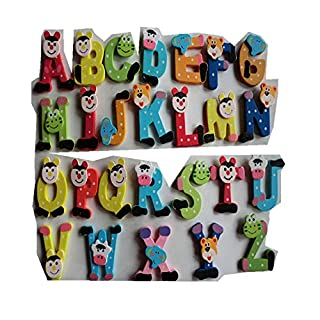 Learn Toy 26pcs Wooden Cartoon Alphabet A-Z Magnets Child Educational Toy BaojunHT®(AS Show)