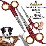 Hundeschere – Set mit 2 Scheren zur Fellpflege für Hunde – Fellscheren aus Edelstahl mit abgerundeter Spitze - 2