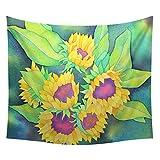 Xmiral Tapestries Picknickdecke Strandtücher 150cm x130cm Sonnenblume Wandtuch Yogamatte(A)