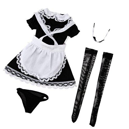liges Zimmermädchen Kostüm Schürze Bekleidung für 12 Zoll Action Figuren (Weibliche Action Figur Kostüme)