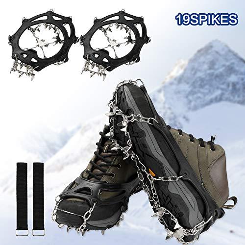 MojiDecor Schuhspikes Schuhkrallen mit 19 Zähnen, Steigeisen für Bergschuhe Silikon Schneeketten Steigeisen mit Edelstahlspikes für High Altitude Wandern EIS Schnee (19 Zähnen, L(39-45))