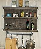 dekorie67 Küchenregal Gewürzregal Hängeregal Borte Shabby Vintage Holz Braun palisander