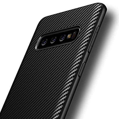 AVANA Hülle für Samsung Galaxy S10 Plus Schutzhülle Flexibles Slim Case Schwarz Schutz Silikon TPU Schale Kratzfest Kohlefaser Handyhülle Bumper Cover Carbon Optik -