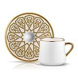 Kaffee-/ Tee-Tasse und Untertasse aus Porzellan mit Goldrand und seldschukischer Goldverzierung 230 ml 6er Set