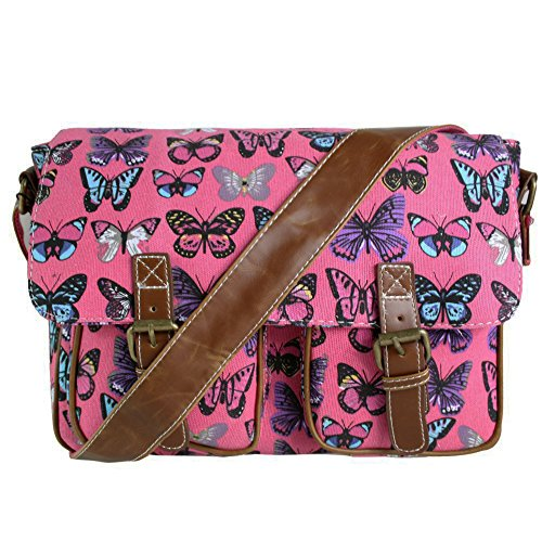 Miss Lulu - Borsa a tracolla da donna, stile vintage, motivo: gufi con foglie/farfalle, in tela o cerata Butterfly Plum/Red (Canvas)