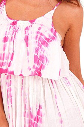 Pistachio - Robe - Évasée - Femme Blanc/rose